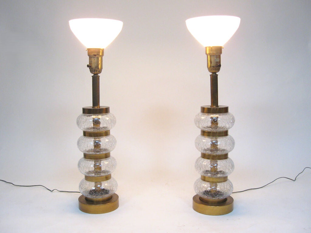 Pair of Paul Hanson clear crackle glass lamps In Good Condition For Sale In Highland, IN