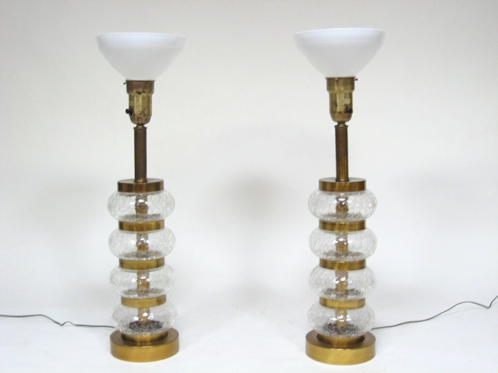 Mid-20th Century Pair of Paul Hanson clear crackle glass lamps For Sale