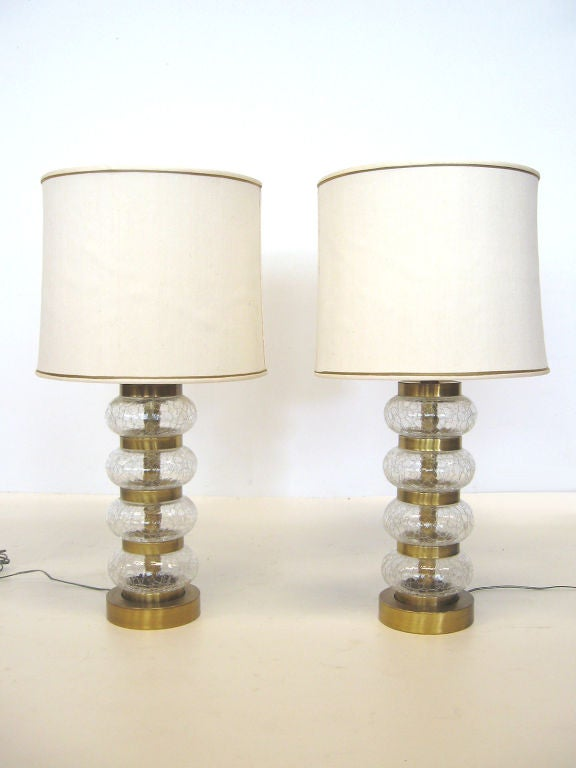 Brass Pair of Paul Hanson clear crackle glass lamps For Sale