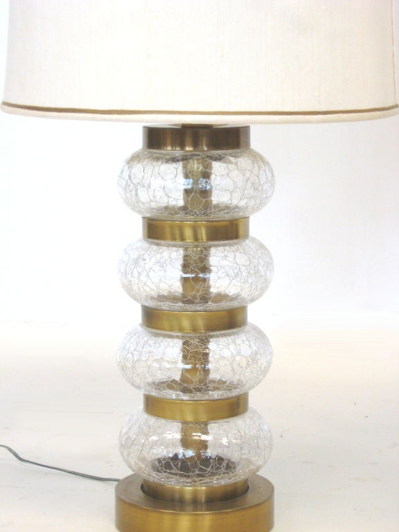 Pair of Paul Hanson clear crackle glass lamps For Sale 1
