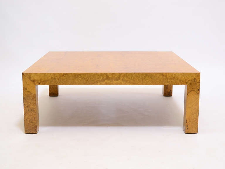 Milo Baughman Burl Wood Coffee Table at 1stdibs