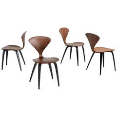 Set of Four Walnut Cherner Side Chairs