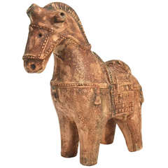 Ceramic Chinese War Horse by Aldo Londi