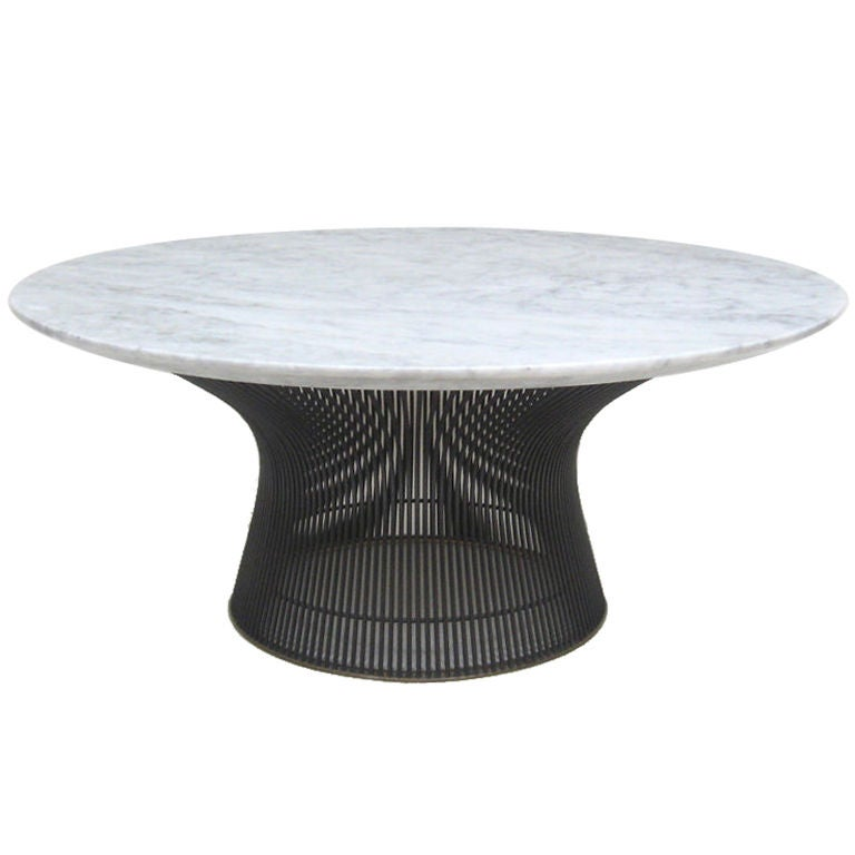 Warren platner bronze cocktail table with marble top by for Warren platner coffee table