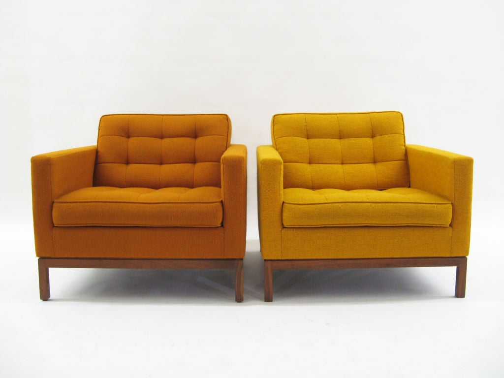 Pair Of Florence Knoll Lounge Chairs With Uncommon Wood