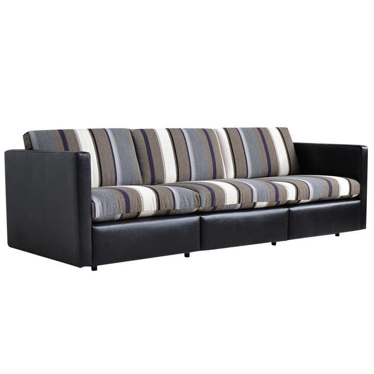 Charles Pfister Sofa By Knoll In Leather And Fabric For