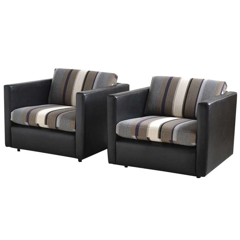 Pair Of Pfister Lounge Chairs By Knoll In Leather And
