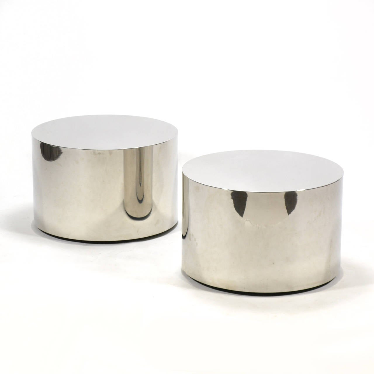 Mid Century Modern Milo Baughman Pair Of Stainless Steel Drum Tables For
