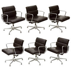 Charles and Ray Eames Set of Six Soft Pad Chairs by Herman Miller