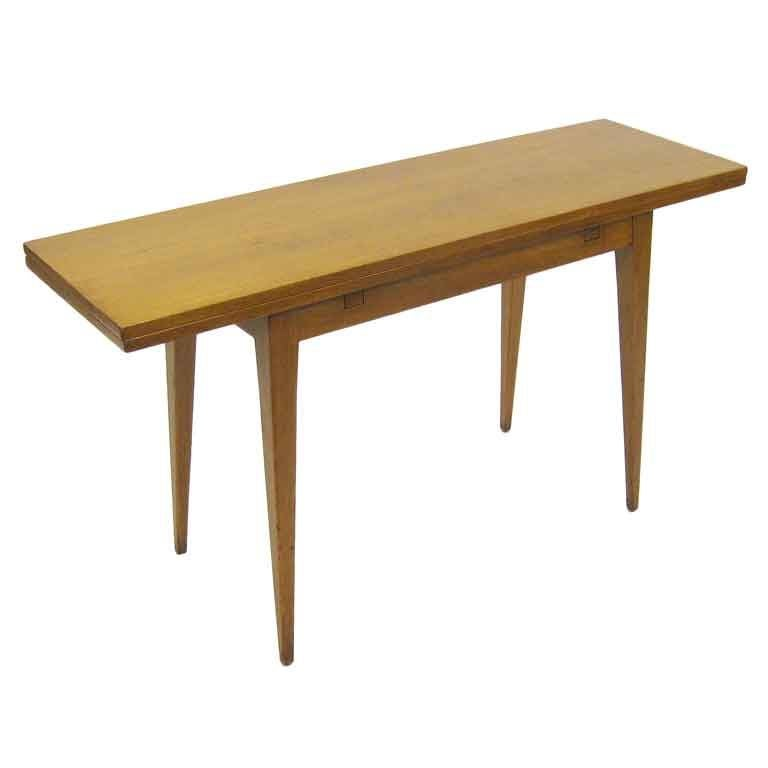 flip top console dining table by ed wormley for dunbar at 1stdibs. Black Bedroom Furniture Sets. Home Design Ideas