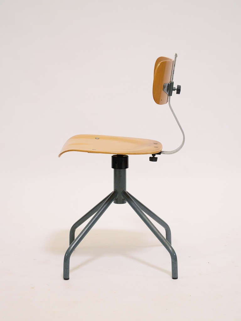 Italian Task Chair With Molded Plywood Seat And Back At