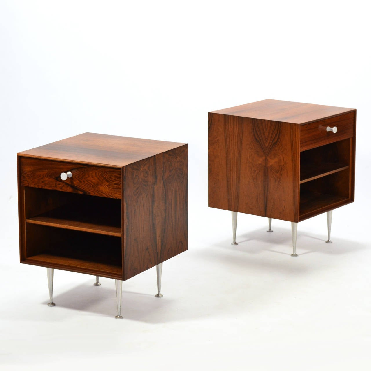 George Nelson Rosewood Thin Edge Nightstands By Herman