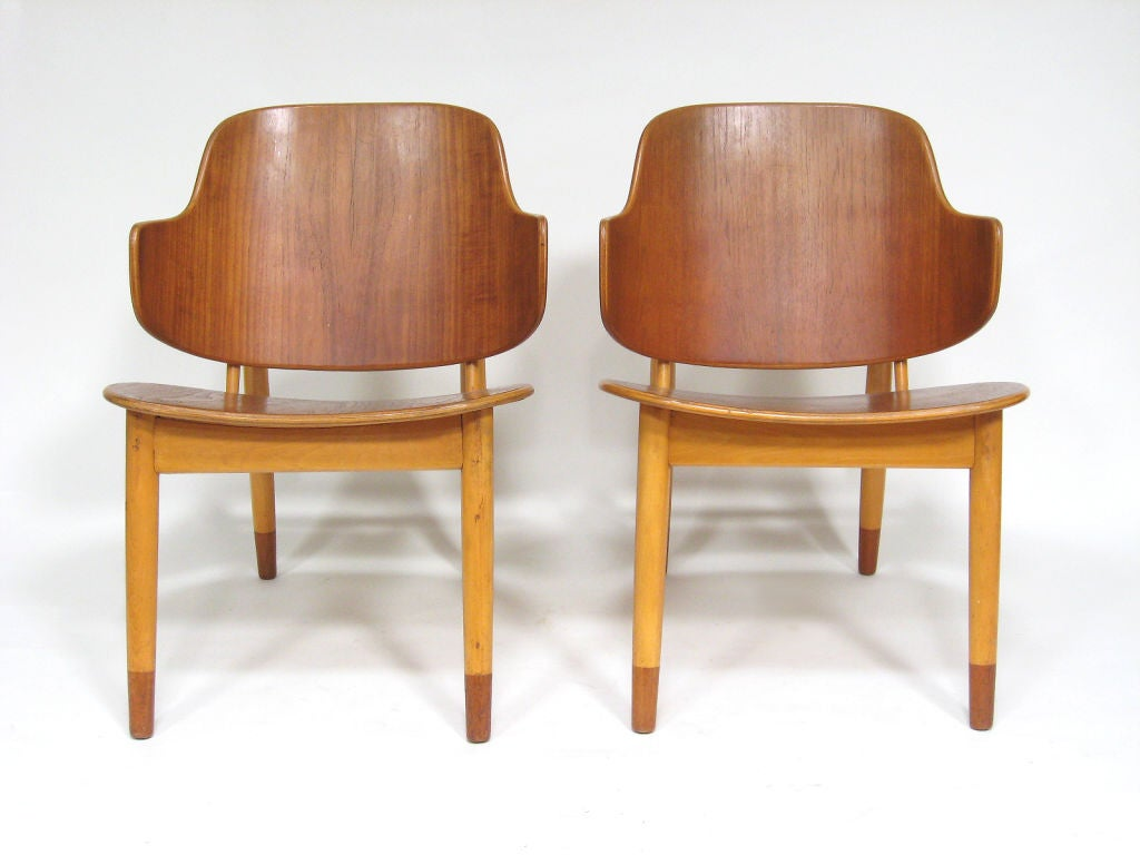 Pair of Lounge Chairs in Teak and Birch by Ib Kofod-Larsen 10