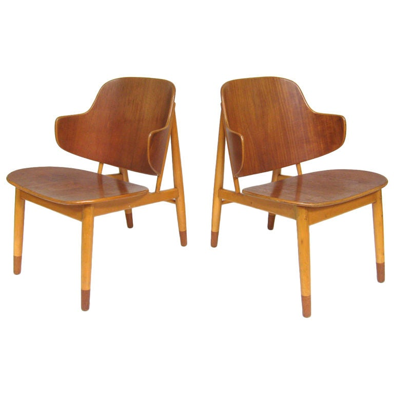 Pair of Lounge Chairs in Teak and Birch by Ib Kofod-Larsen 1