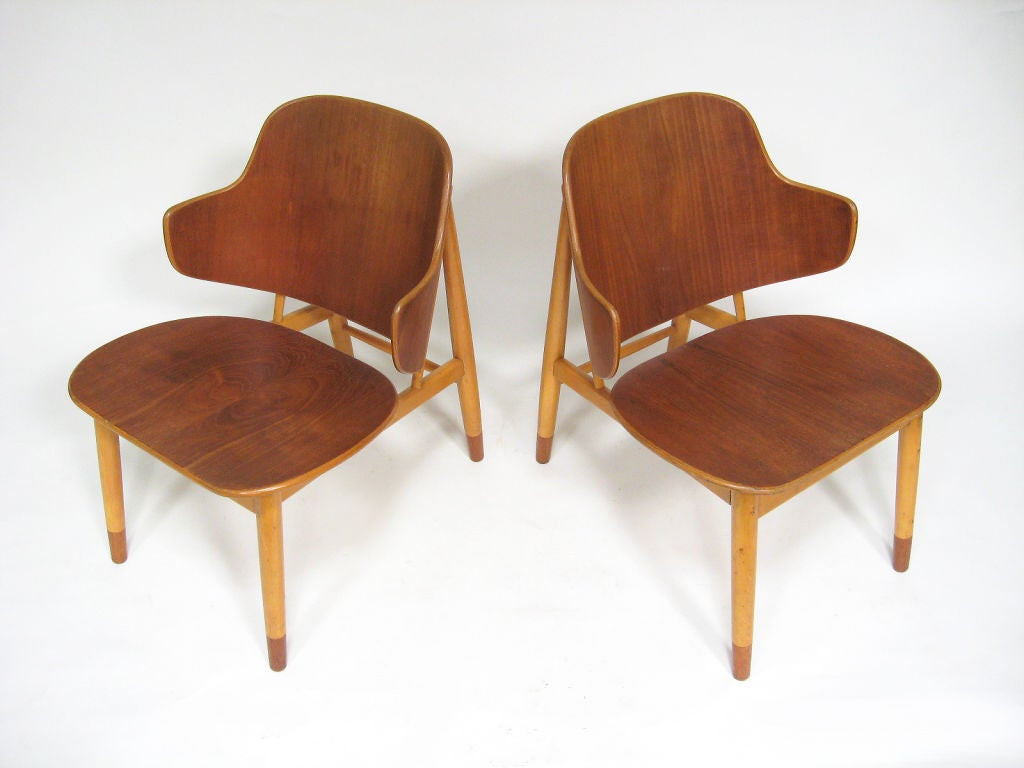 Pair of Lounge Chairs in Teak and Birch by Ib Kofod-Larsen 2