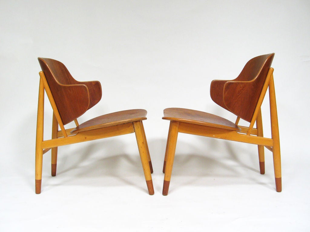 Pair of Lounge Chairs in Teak and Birch by Ib Kofod-Larsen 4