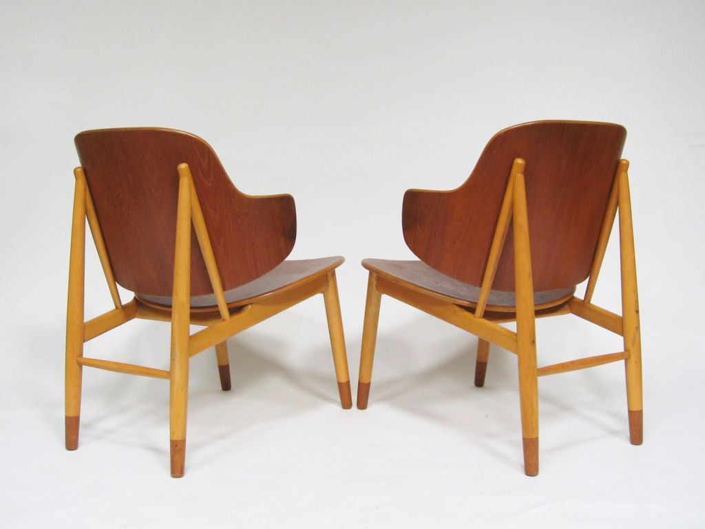 Pair of Lounge Chairs in Teak and Birch by Ib Kofod-Larsen 5