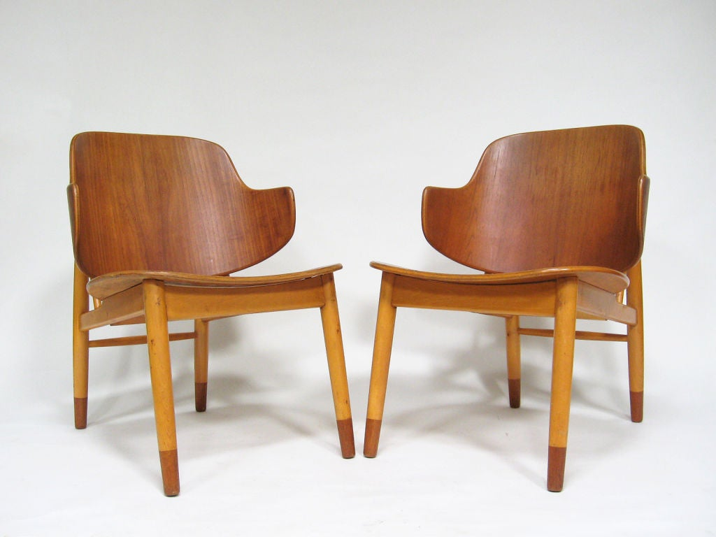 Pair of Lounge Chairs in Teak and Birch by Ib Kofod-Larsen 6