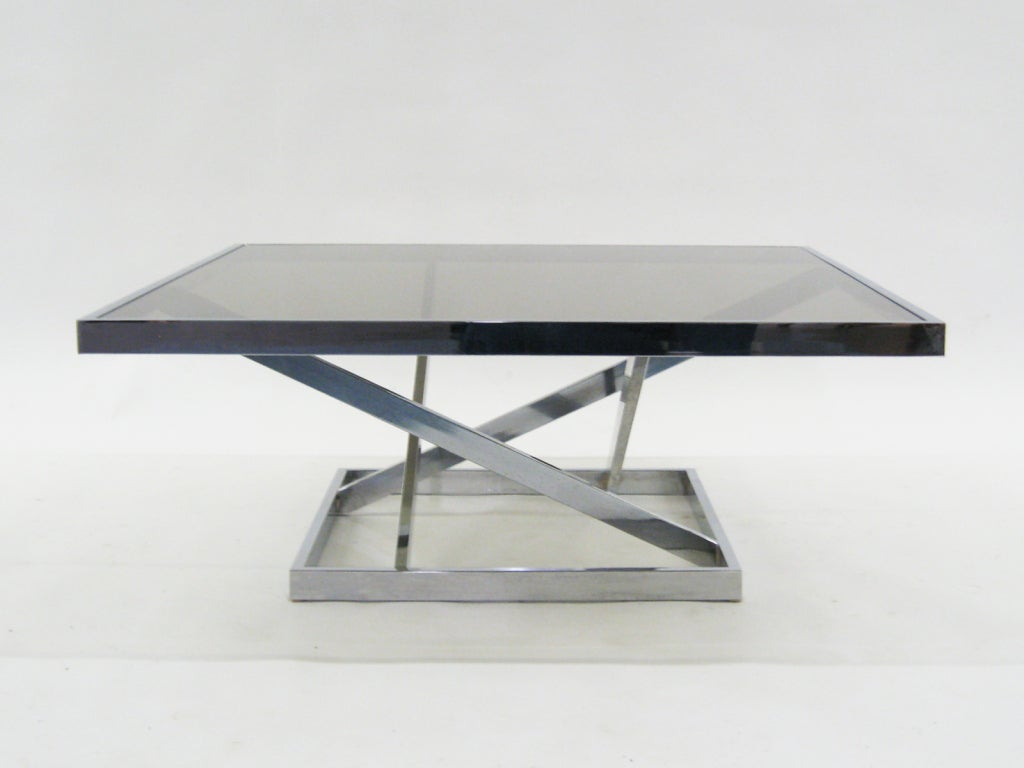 Italian Chrome Coffee Table With Smoked Glass Top At 1stdibs
