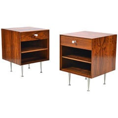 George Nelson Rosewood Thin-Edge Nightstands by Herman Miller