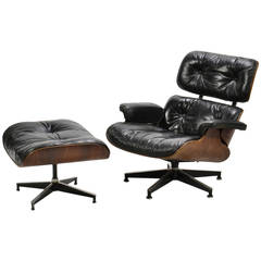 Eames 670 Down-Filled Lounge Chair and Ottoman with Rich Patina