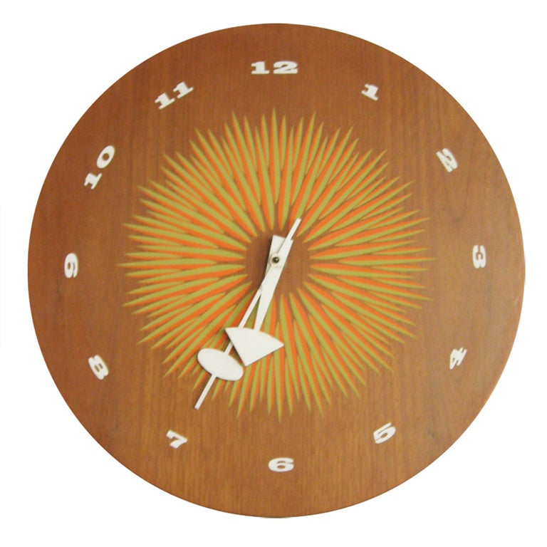 George nelson clock with graphic face by howard miller at for Nelson wall clock