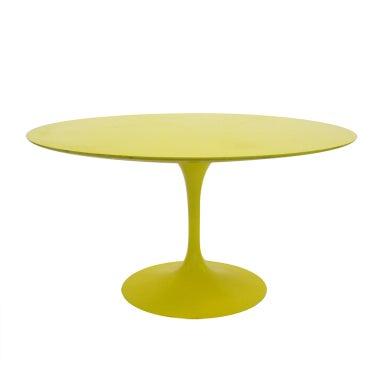 Eero Saarinen tulip table in vivid yellow by Knoll
