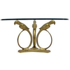 Stylized Deco Moderne Brass Parrot Coffee Table