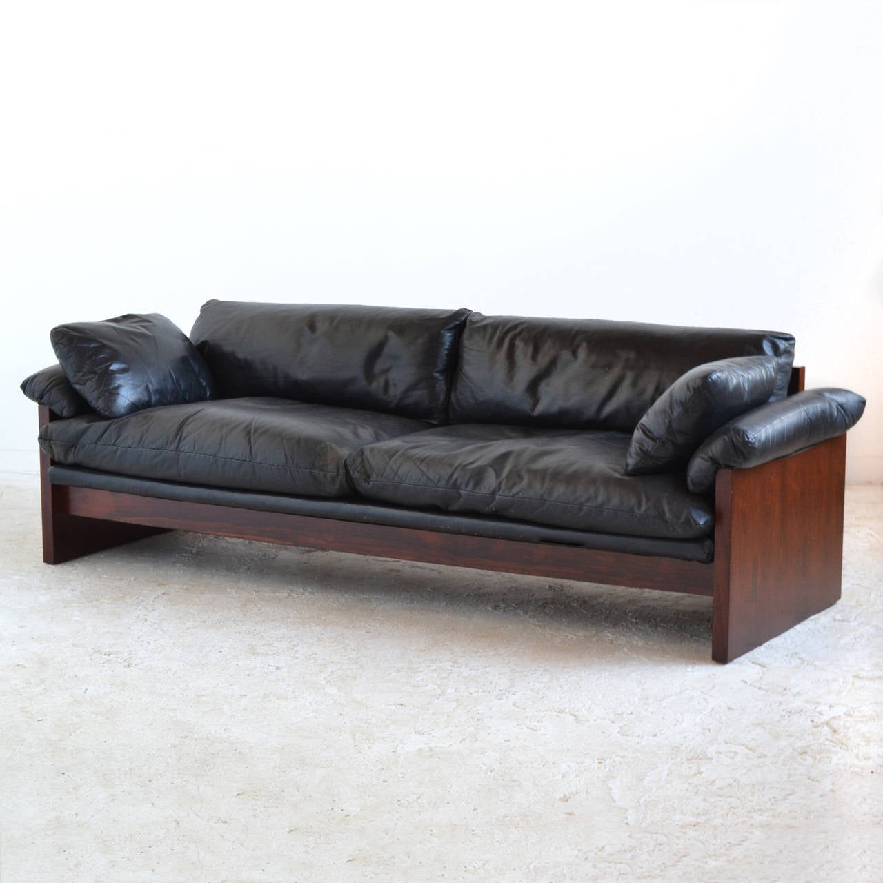 Great Rosewood Sofa With Down Filled Leather Cushions 3