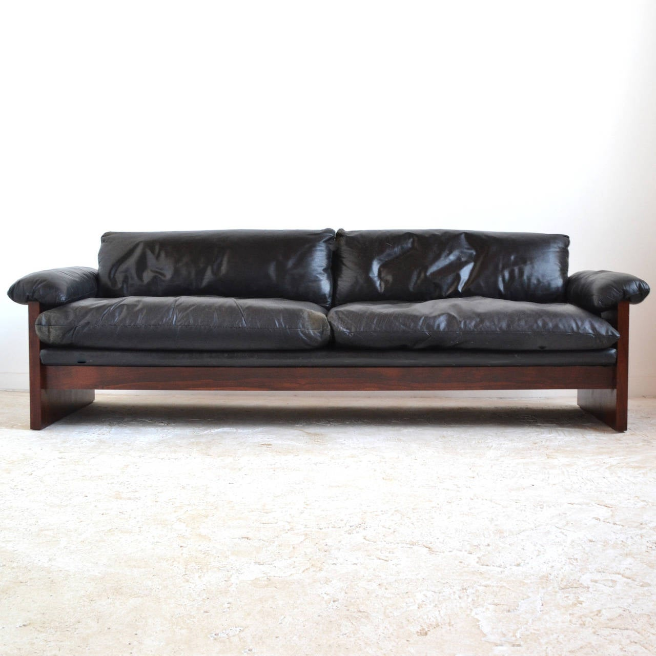 Rosewood sofa with down filled leather cushions at 1stdibs for Cushions for leather sofas
