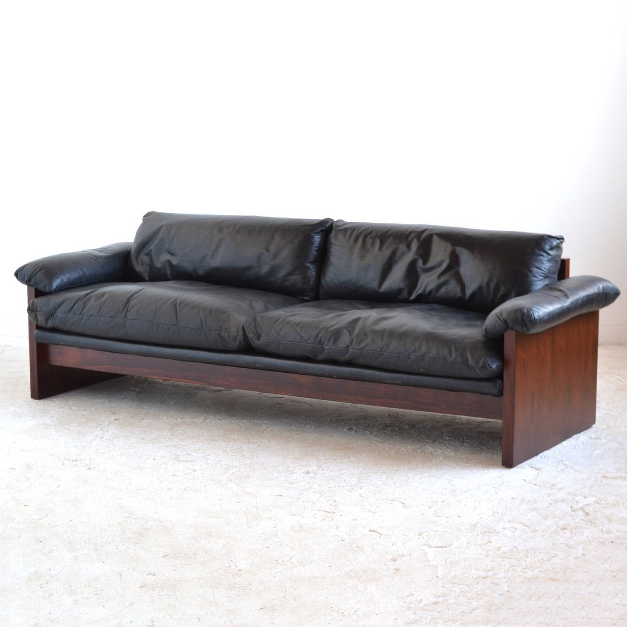 Rosewood Sofa With Down Filled Leather Cushions At 1stdibs