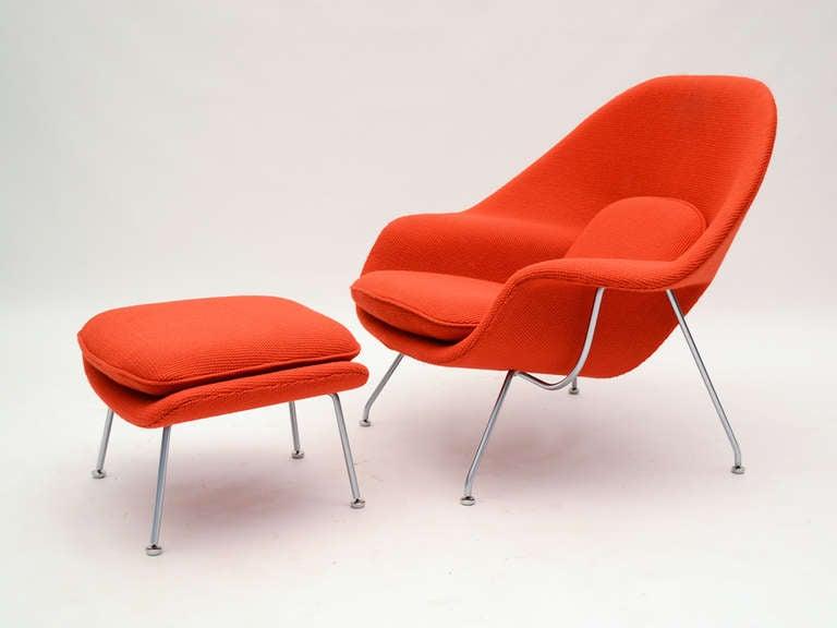 Eero Saarinen womb chair and ottoman in cato fabric 4