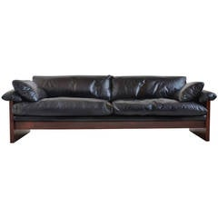 Rosewood Sofa with Down-Filled Leather Cushions