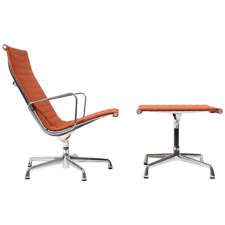 Eames Aluminum Group Lounge Chair And Ottoman By Herman Miller At 1stdibs