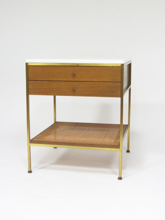 Paul Mccobb End Table Nightstand With White Glass Top By