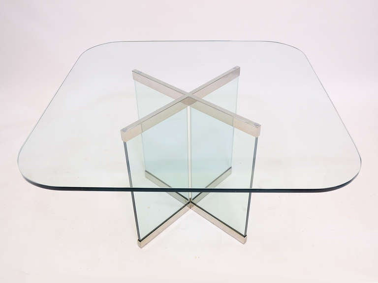 Mid-Century Modern Glass and Chrome Dining Table by Leon Rosen for Pace Collection For Sale