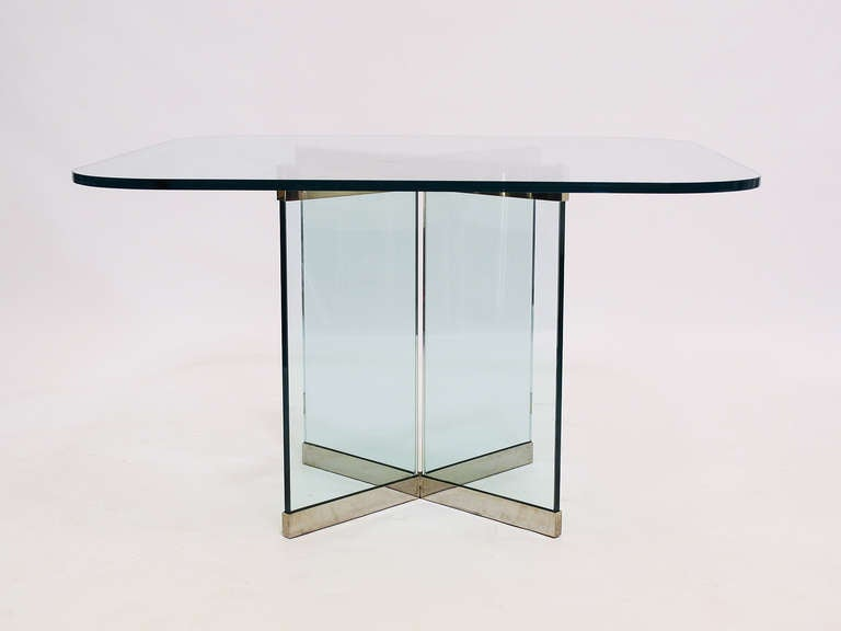 American Glass and Chrome Dining Table by Leon Rosen for Pace Collection For Sale