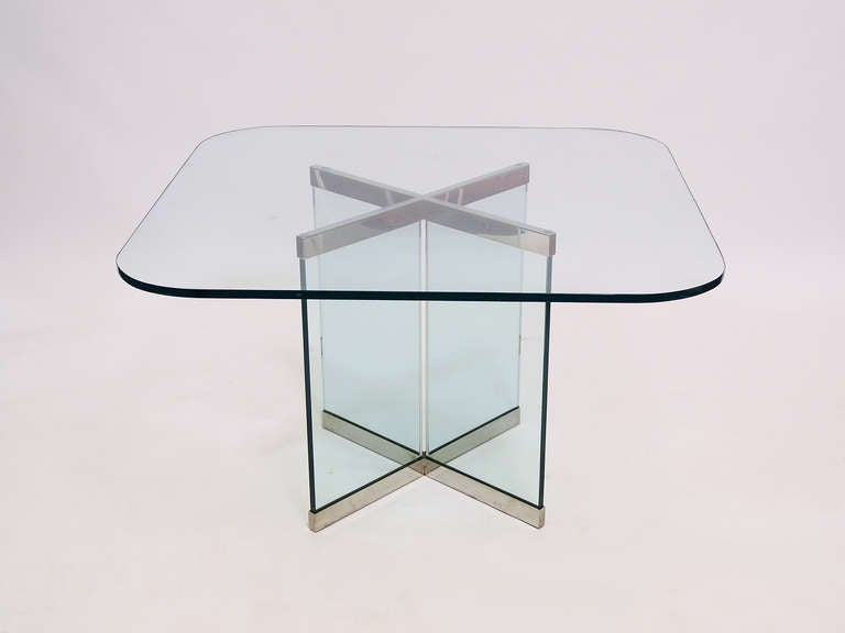 Glass and Chrome Dining Table by Leon Rosen for Pace Collection In Good Condition For Sale In Highland, IN