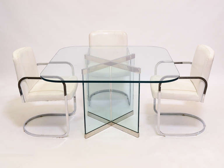 Late 20th Century Glass and Chrome Dining Table by Leon Rosen for Pace Collection For Sale