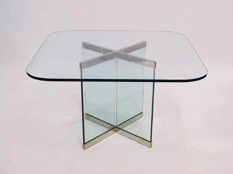 Glass and Chrome Dining Table by Leon Rosen for Pace Collection For Sale 1
