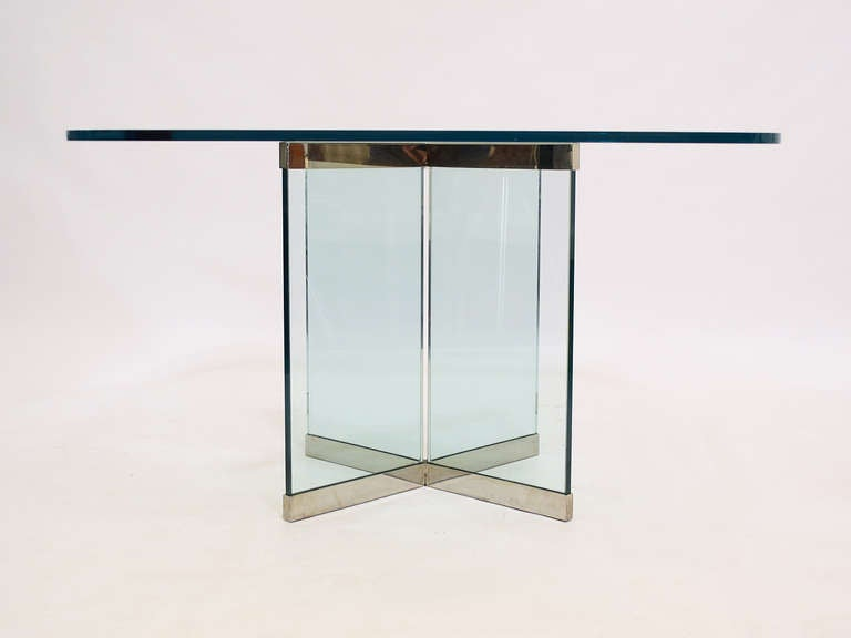 Glass and Chrome Dining Table by Leon Rosen for Pace Collection For Sale 2