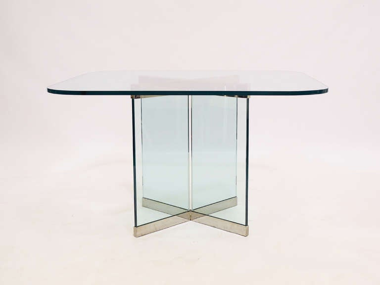 Glass and Chrome Dining Table by Leon Rosen for Pace Collection For Sale 4