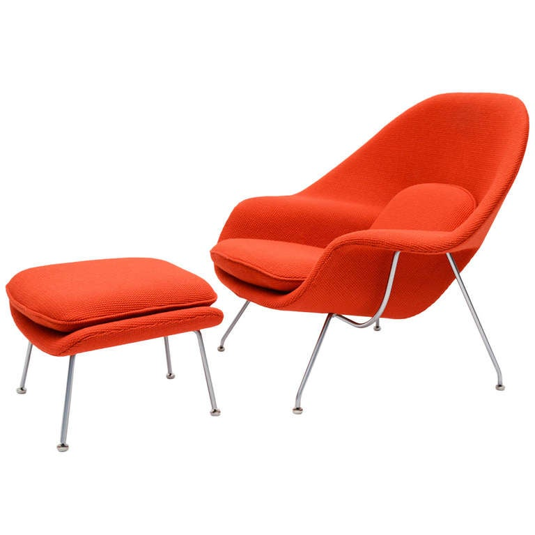 eero saarinen womb chair and ottoman in cato fabric at 1stdibs