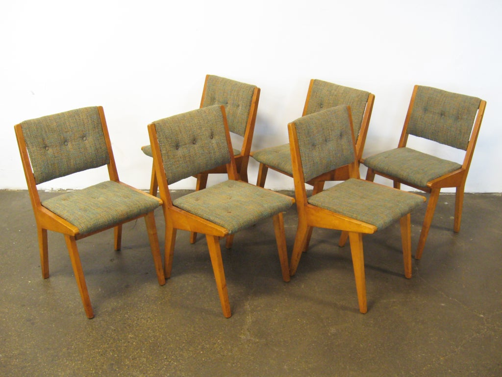 set of six jens risom side chairs by knoll at 1stdibs