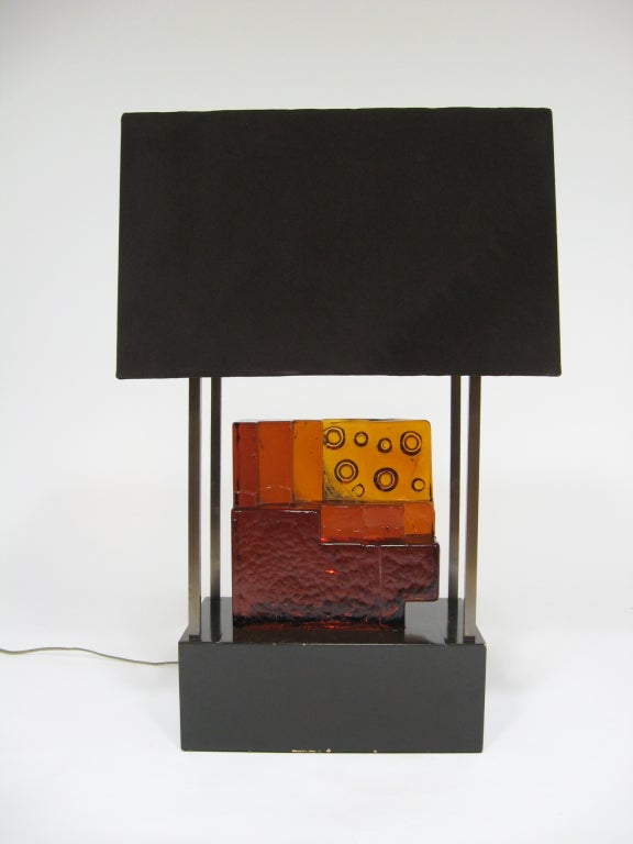 This fantastic one of a kind lamp was designed as part of the interior that Arthur Elrod created for the Johnson Publishing building in downtown Chicago. The entire lamp was custom fabricated to the specifications of the Elrod design team. They