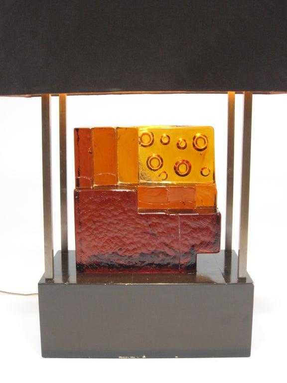 Late 20th Century Custom Art Glass Sculpture Lamp from Arthur Elrod Interior For Sale