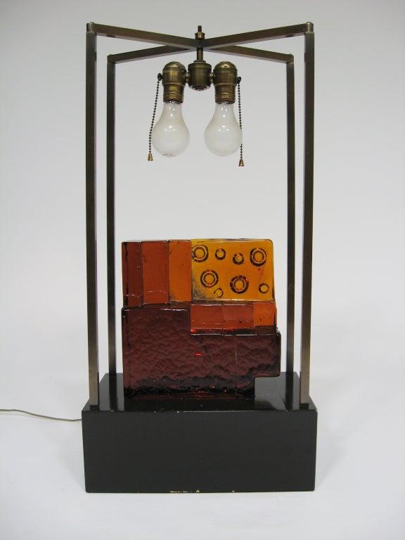 Fabric Custom Art Glass Sculpture Lamp from Arthur Elrod Interior For Sale