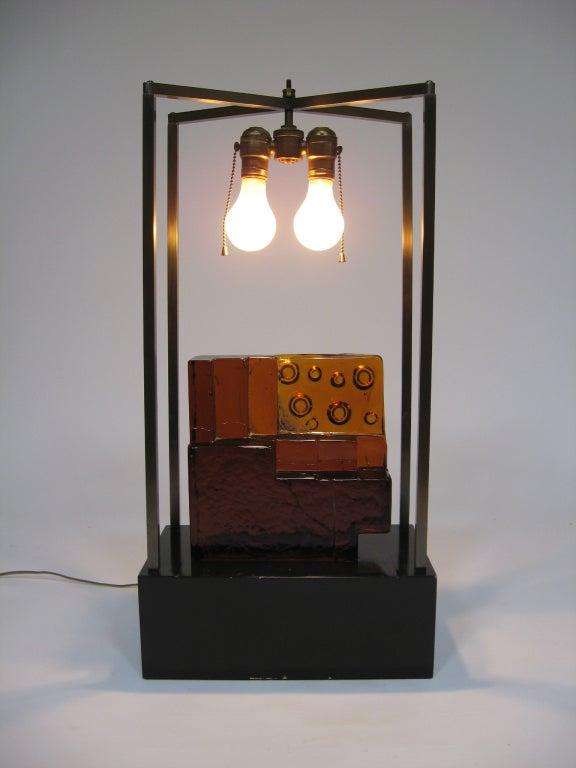 Custom Art Glass Sculpture Lamp from Arthur Elrod Interior For Sale 3