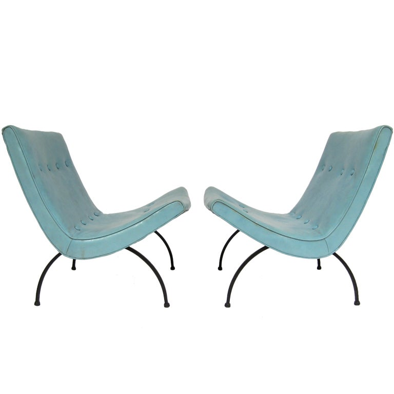 Amazing Pair Of Milo Baughman Scoop Chairs 1