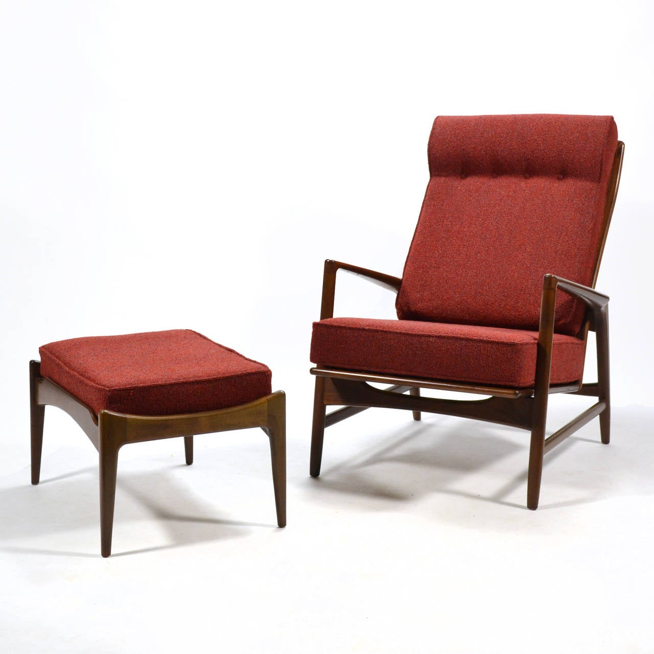 This sculptural pair of lounge chairs by ib kofod larsen is no longer - Ib Kofod Larsen Reclining Lounge Chair And Ottoman 3